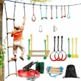 LCRAKON Ninja Warrior Hindernisparcours FüR Kinder, Kletterseilleiter, 15 M Ninja Slackline Mit 9 HäNgenden Ninja Warrior TrainingsgeräTen FüR Kinder Hinterhof Outdoor Indoor - 1