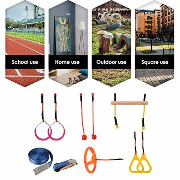 Ninja Warrior Slackline Set 15m,Ninja Warrior Hindernisparcours,50FT Slackline Kit Ninja Ringe Kletterseil Leiter Kletterfrachtnetz Ninja Warrior Trainingsausrüstung für Erwachsene und Kinder - 9